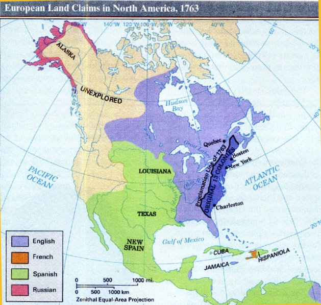 North America 1763 Map